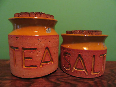 Florenz Canisters 1970s Corked Yellow Earthenware Australia