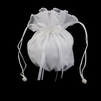 Ivory Satin Wedding Bridal Dolly Money Purse Bag Handbag for Party Prom Evening
