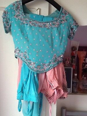 Bollywood Indian Pakistani Pastel New Design Pink Green Stunning Lengha Outfit
