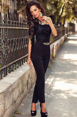 Overall Spitze sexy Elegant Spitzenoverall Bluse Hose Jumpsuit Party Suit