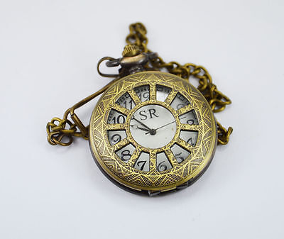 Handmade Vintage Pink color Flower Designed Pocket Watch with long chain