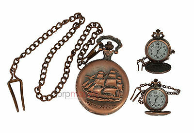 Handmade Vintage U.S.S.Constitution Pocket Watch with Long Chain by Dorpmarket