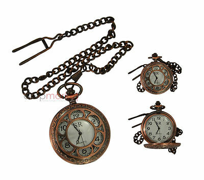 Handmade Vintage Replica vintage Flower Designed Pocket Watch with long chain