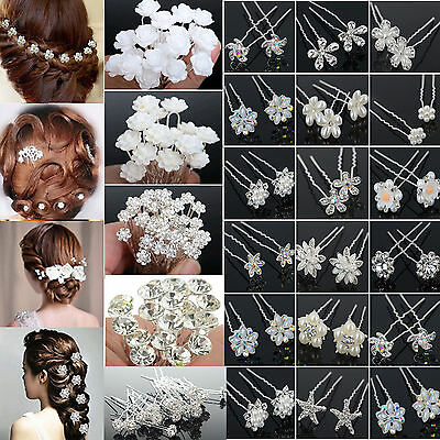 20/40PCS Wholesale Wedding Bridal Flower Crystal Hair Pins Clips Bridesmaid Best