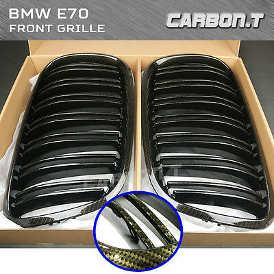 M Type Carbon Look Front Grille For BMW E71 X6 Series E70 X5 Series