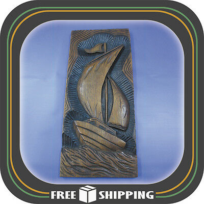 "VINTAGE HANDMADE SAILBOAT CARVED WOODEN PANEL 24"" x 10"" MARKED ""VALERIANO"""