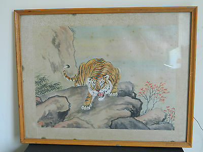 Antique Chinese hand painted painting on silk of tiger