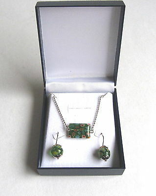 Solid Sterling Silver Millefiori Glass Green Choker Necklace Earrings Gift Box