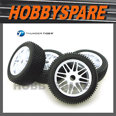 Set Of 4 Rc 1/8 Buggy Offroad Tyre & Wheel Nanda Hsp Thunder Tiger Eb4 Pd7747