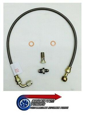 Braided Turbo Oil Feed Line & Fittings Garrett GT3076 R33 GTS-T Skyline RB25DET