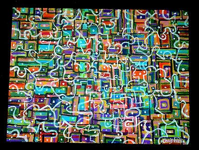 """""""Retro #2"""" Abstract Painting on Large Canvas Signed"""