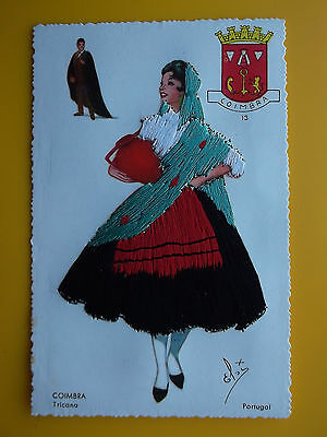 ELSI GUMIER Pretty Girl Coimbra Tricana - Spanish Embroidered Silk c1950s