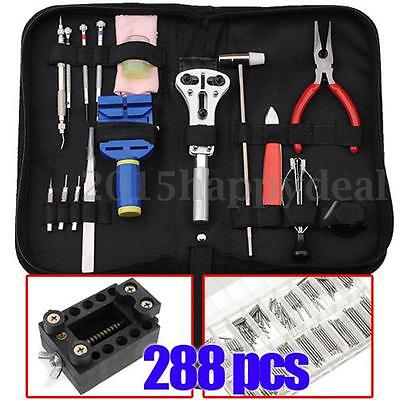 288 Watch Repair Tool Kit Back Case Opener Battery Cover Remover Spring Pin Bar