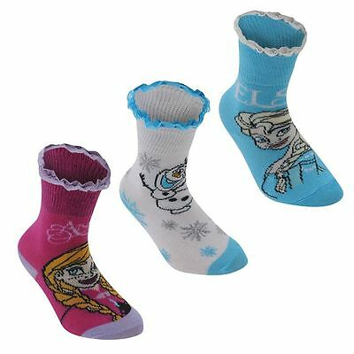 Disney 3 pack Crew Sock Girls Disney Frozen UK size C0 - C2
