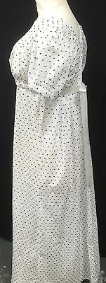 Regency Jane Austen Inspired White Cotton Lawn With Black Clipped Dots