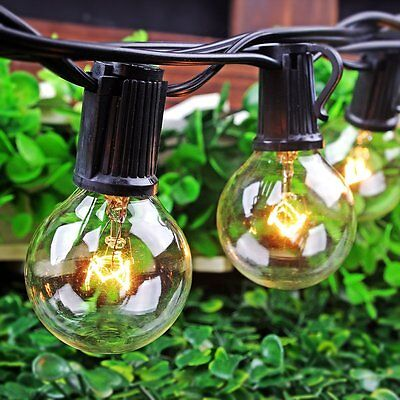 25 Foot G40 Clear Bulbs Outdoor Globe Patio Xmas Party String Lights
