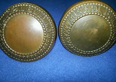 Antique Original Brass  Nyc Municapal Building Doorknobs Manhattan Ny History