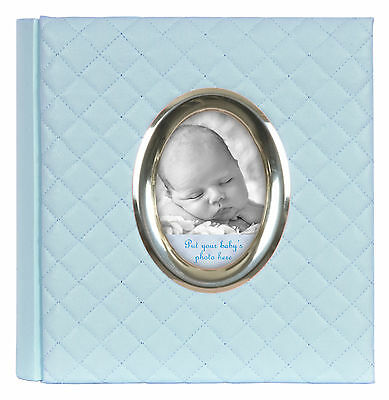 """Baby Photo Album in Blue - Quilted Design with Front Aperture - 200 6x4"""" Photos"""