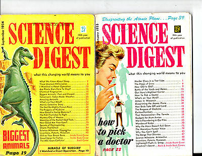 Lot Of 6 1954-1955 Science Digest Magazines-- Vintage-Rare