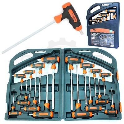 PROFESSIONAL 16 Piece T Handle TORX STAR & HEX BALL ALLEN KEY Screwdriver Set