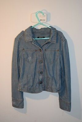 DKNY Designer Girls Blue Denim Jacket Embellished with a Butterfly 8yrs