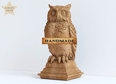 """9.3"""" Owl Top for Newel Stair Hand Carved Wood Oak Corbels Decor Front Pillar"""
