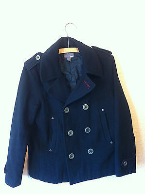 H&M 80% wool button up Pea winter coat navy blue for girls 11-12 yrs