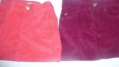 Girls 2 X Pink And Berry Mini Cord Skirts 4 Years Adjustable Waist Pockets