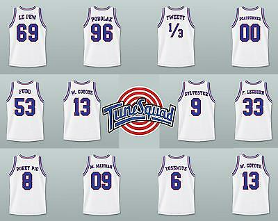 Space Jam Basketball Jersey Tune Squad LOONEY TUNES Stitched White All names