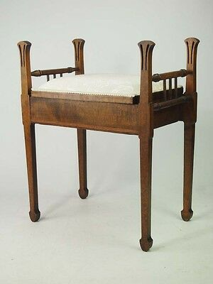 Antique Edwardian Arts Crafts Piano Stool - Deco Music Seat Chair Bench