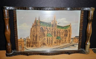 """Vintage Handmade Wood Carved Tray Glass top with Painting """"Metz"""" by Mos."""