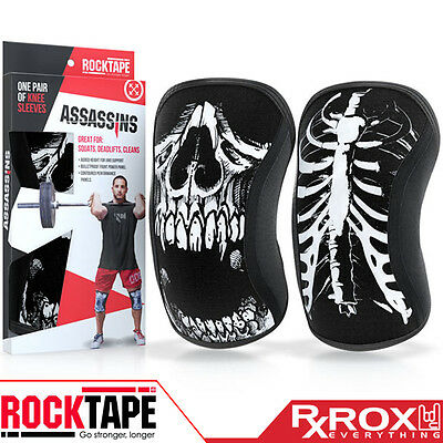 RockTape Assassins Knee Support Sleeves | Pair | 5mm | Skull | CrossFit