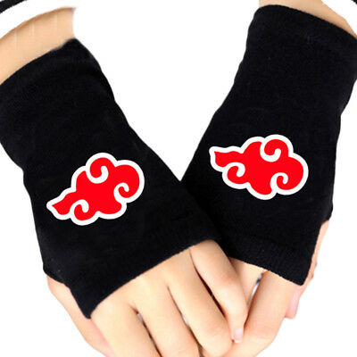 Anime Naruto Akatsuki Red Cloud Cosplay Cotton Knitted Gloves Fingerless Mittens
