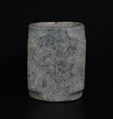 Chinese QiJia Culture Style Sacrificial Ceremony Large Jade Plain Cong-JR12491