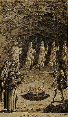 Genuine 18th Century Engraving, Macbeth and the Witches, Shakespeare, 1709