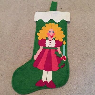 Vintage felt Christmas stocking blonde girl with candle 15""