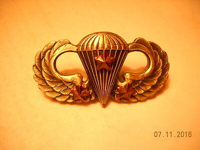 Us Issue Airborne Paratrooper Basic Jump Wings W/3 Star