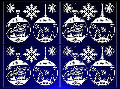 4 x Christmas Stickers Decorations Window Baubles Snowflakes Self Cling Reusable