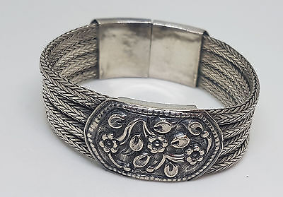 Rare Antique Chinese Export Solid Silver Rope Bracelet 74.3 G