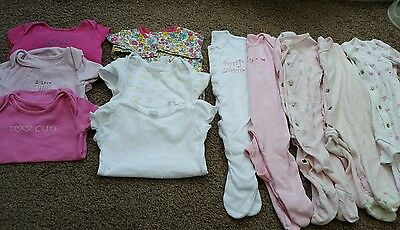 baby girls 0-3 months vests and babygrows bundle