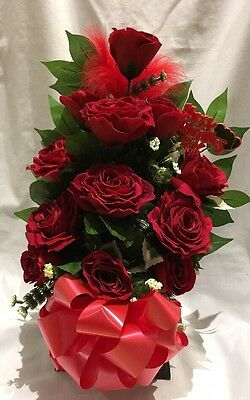 Artificial Silk Flower Valentines Day Bouquet Box 12 Red Rose Luxury Delivered
