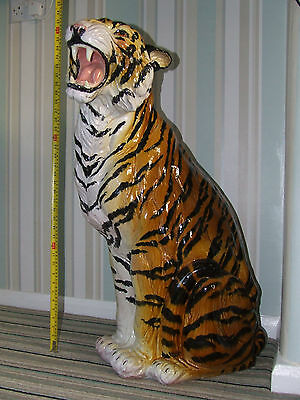 Porcelain Casa Pupo 1940's 35 inch Sitting Tiger