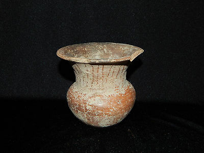 Pre-Columbian Urn Style Vase with Incised Lines