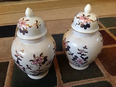 A Pair Of Hand Painted Decorative Urns.