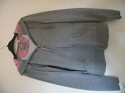 "Girls SO Zip Front Grey Polyester & Cotton Hoodie Size Medium (bust 32""- 34"")"