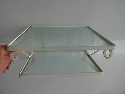 Vintage Wall Mounted Metal Glass Stand, Shelf, Telephone Table 60s Shabby Chic