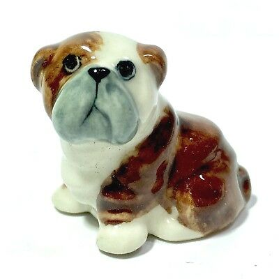 Miniature Bulldog Ceramic Animal Figurine Dog Statue Hand Painted Collectibles