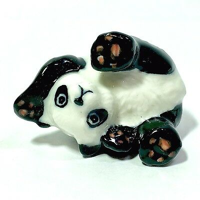Miniature Cute Playing Panda Ceramic Animal Figurine Handcraft Collectible Decor