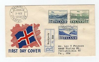 Iceland Registered FDC 2.V.1952 Air Mail and Glaciers Stamps