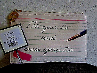 Kate Spade New York~Dot Your i's Pencil Pouch~Brand New